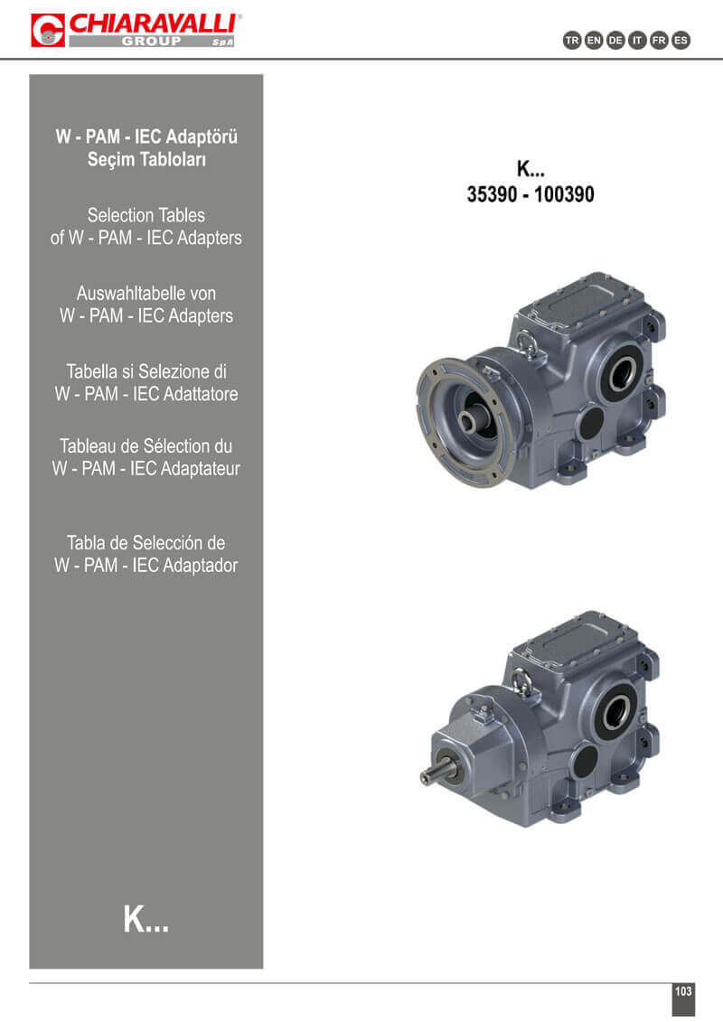 K SERIES BEVEL HELICAL GEARBOXES_SELECTION_TABLES_W_PAM_IEC_ADAPTERS-1
